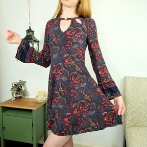 American Eagle Bell Sleeve Paisley Floral Dress XS